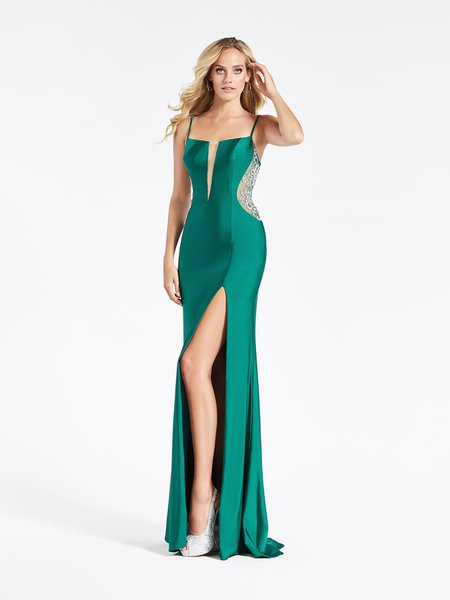 Val Stefani 3933RA figure-hugging square neck with illusion inset jersey mermaid prom gown in beautiful emerald