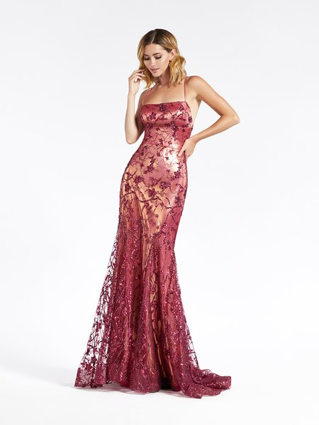 Val Stefani 3936RC marvelous magenta mermaid formal gown in glitter sequin print net with thin straps scoop neckline