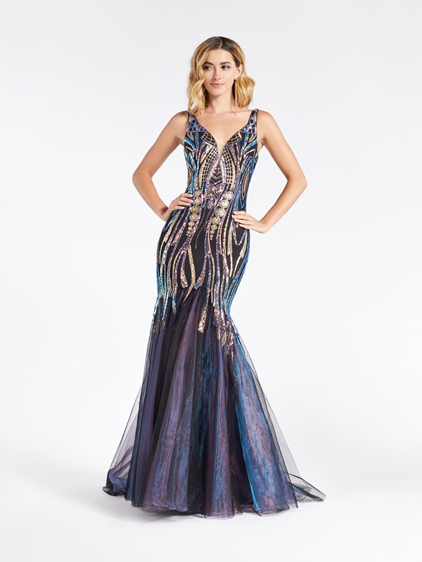 Val Stefani 3937RE unique embroidered sequin fabric over tulle mermaid prom dress in black and purple