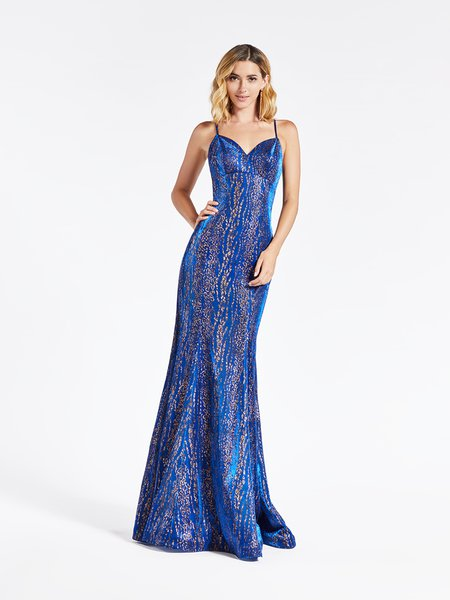 Val Stefani 3938RB alluring metallic cheetah print and blue mermaid formal gown with thin straps sweetheart neckline