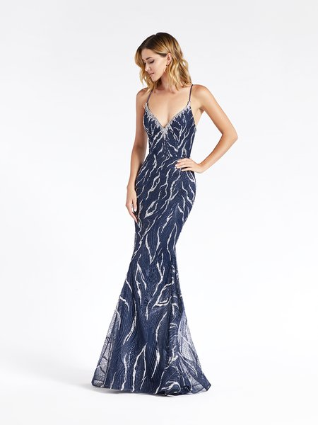 Val Stefani 3939RD sparkly navy embroidered tulle with glitter print formal gown with beaded sweetheart neckline