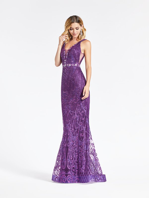 ValStefani 3940RD dazzling purple glitter print net mermaid with deep sweetheart and illusion insets at side bodice