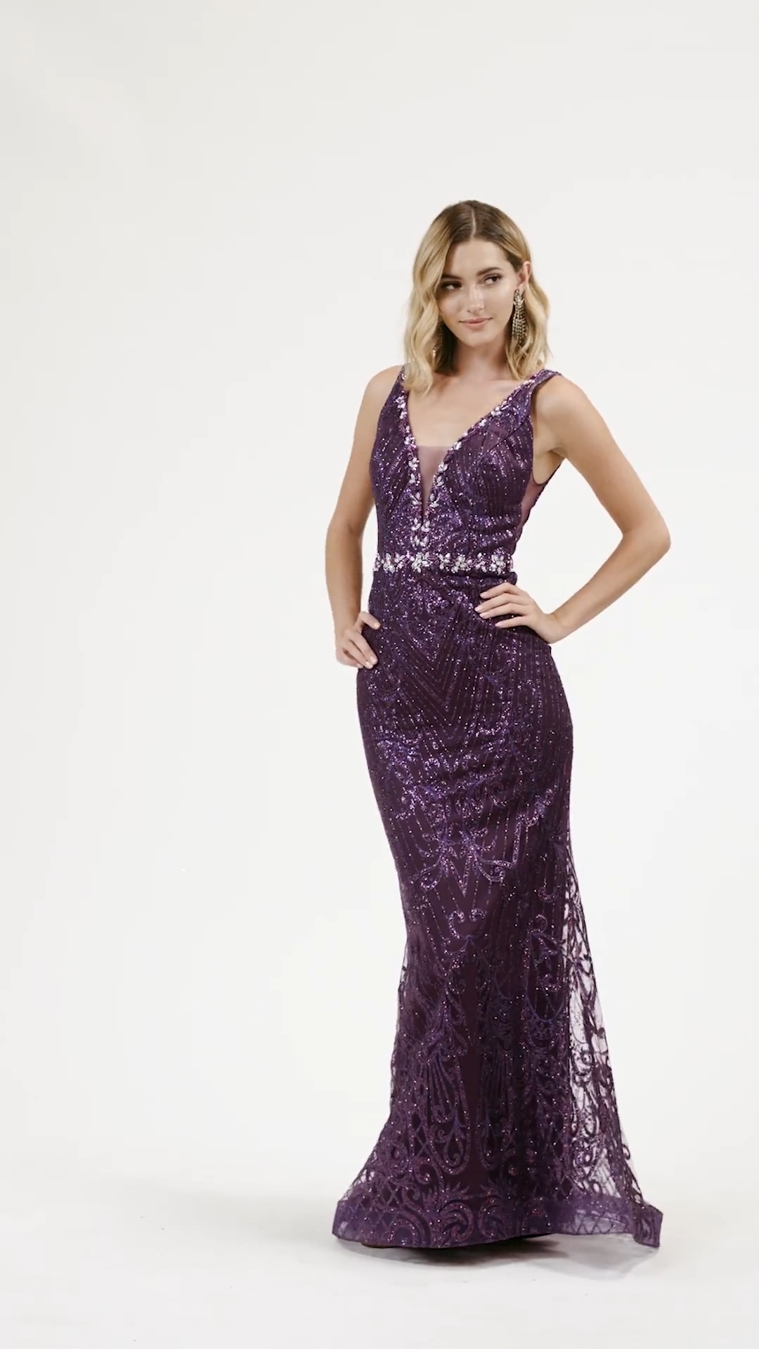 Val Stefani 3940RD regal and sophisticated mermaid gown in glitter print net with deep sweetheart and deep V-back