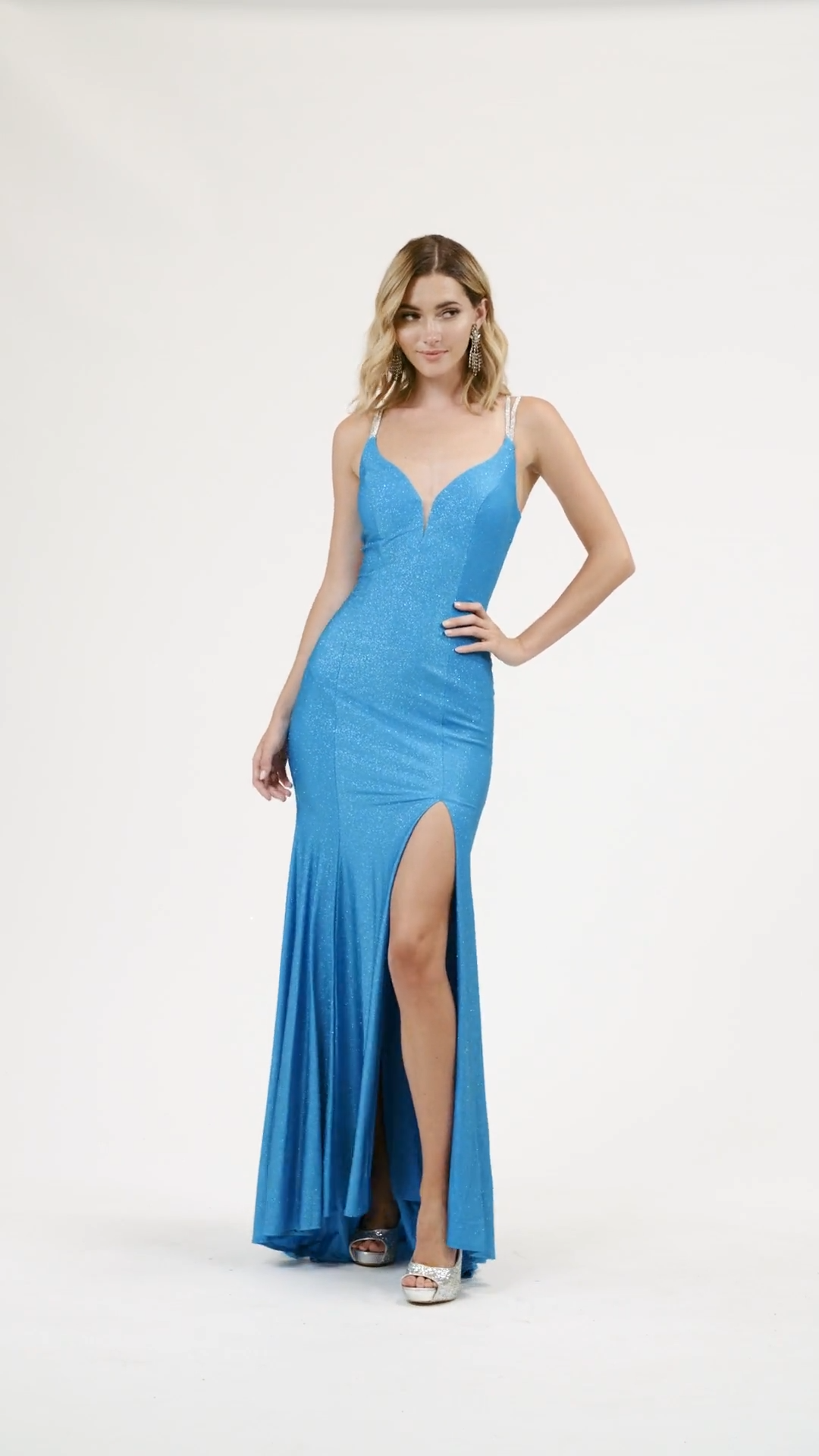 Val Stefani 3941RE electrifying sparkle jersey deep sweetheart and cutout back with rhinestones and high front slit