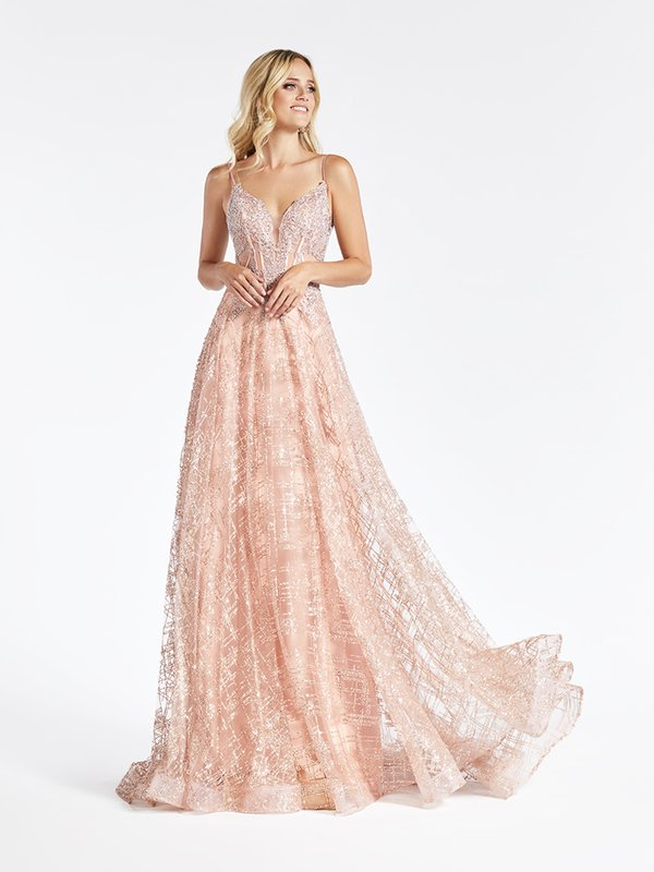 Val Stefani 3943RG unlined bodice glitter tulle rose gold A-line prom dress with sweetheart with illusion inset neckline