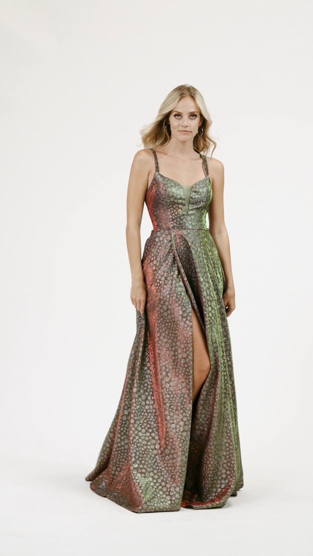 Val Stefani 3944RW two-toned iridescent print jersey deep sweetheart and open lace-up back A-line with wrap skirt