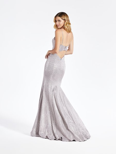 Val Stefani 3945RW fashion forward open back with cutout mermaid in metallic print jersey and kick train