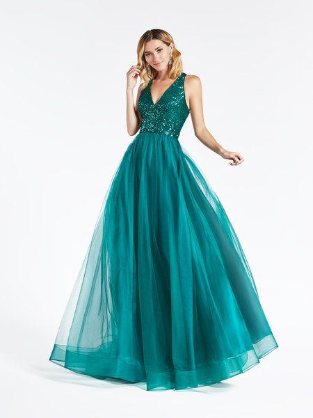 ValStefani 3946RB elegant emerald V-neck sequin bodice and tulle A-line with wrap skirt and horsehair trim hem