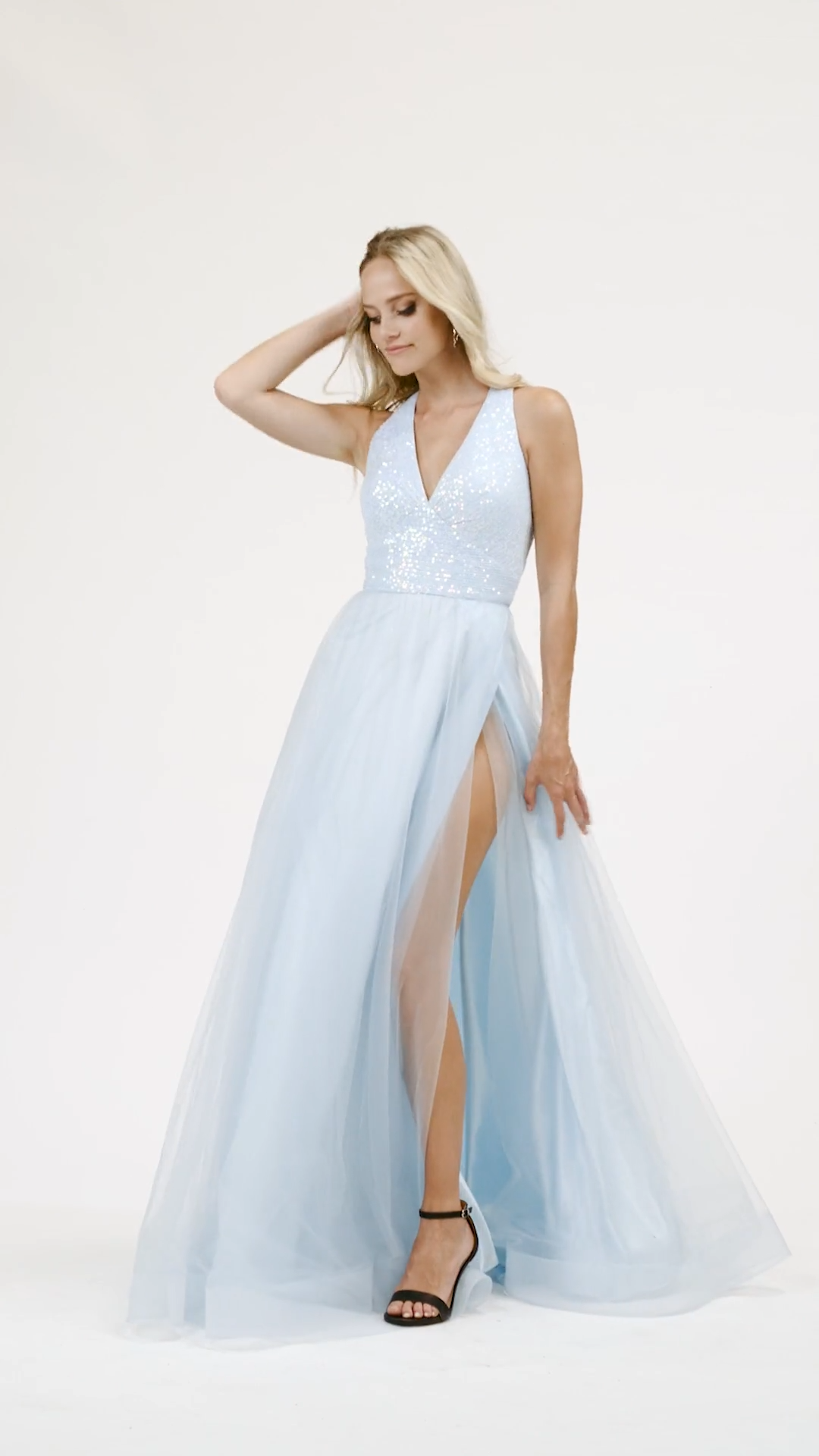 Val Stefani 3946RB whimsical sequin bodice V-neck and strappy back and flowy tulle full A-line with wrap skirt prom dress