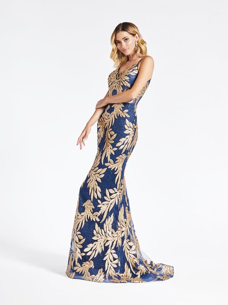 ValStefani 3947RD alluring sleeveless mermaid formal gown with gold sequin embroidery leaf net over navy sparkle tulle fabric