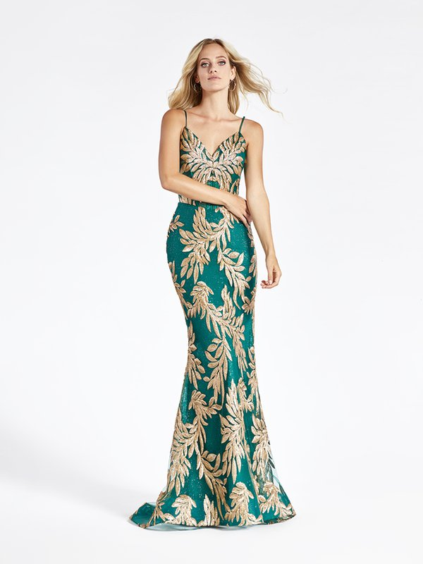 Val Stefani 3947RD gold sequin embroidery leaf net over green sparkle tulle figure flattering mermaid prom dress