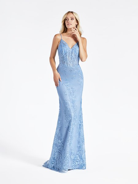 Val Stefani 3948RD embroidery floral lace fabric over sparkle tulle trumpet formal gown in sky blue with unlined bodice