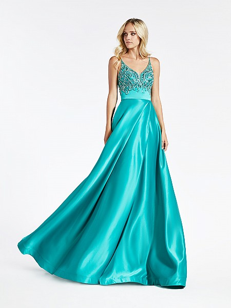 Val Stefani 3949RA green satin A-line with wrap skirt and beaded bodice with pockets at side skirt