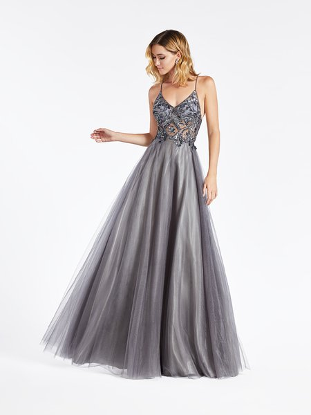 Val Stefani 3951RA charcoal unlined rhinestones and gems beaded bodice with V-neck and flowing tulle A-line gown