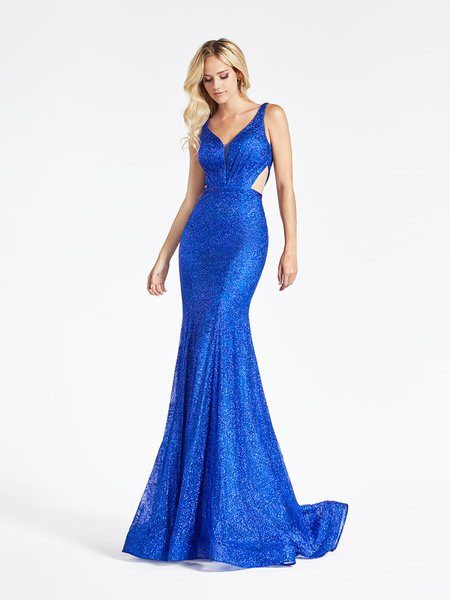 Val Stefani 3952RB sleeveless glitter print net mermaid gown with cutouts at side bodice in radiant royal blue