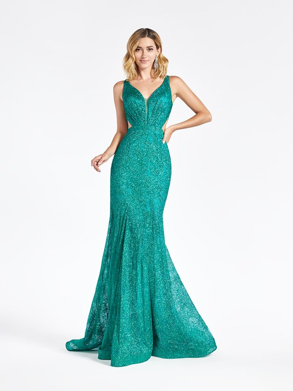 Val Stefani 3952RB elegant emerald glitter print net mermaid prom dress with deep sweetheart neckline with illusion inset