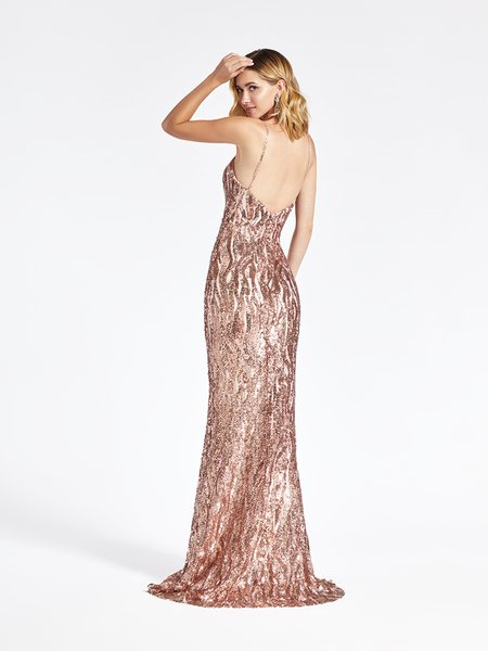Val Stefani 3954RD open back with spaghetti straps mermaid prom dress in embroidered sequin fabric with kick train