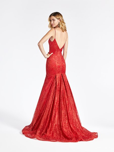 Val Stefani 3955RB glitter print net empire waist mermaid gown with deep V-back and horsehair trimmed kick train