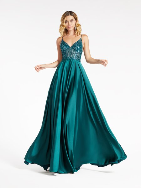 Val Stefani 3958RD thin straps unlined sweetheart bodice with sparkly beading and soft satin A-line prom dress in emerald