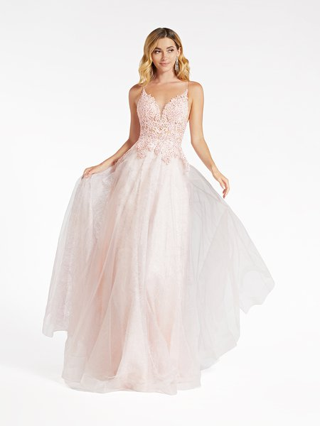 Val Stefani 3963RD re-embroidered lace appliques over unlined sweetheart tulle and glitter print net A-line gown in ice pink