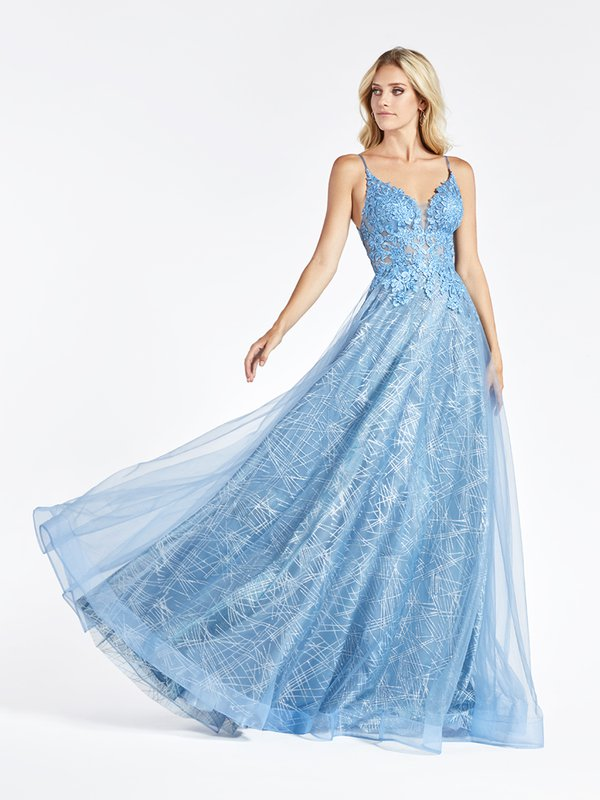 Val Stefani 3963RD sky blue plunging sweetheart neck with illusion inset in tulle and glitter print net A-line prom dress