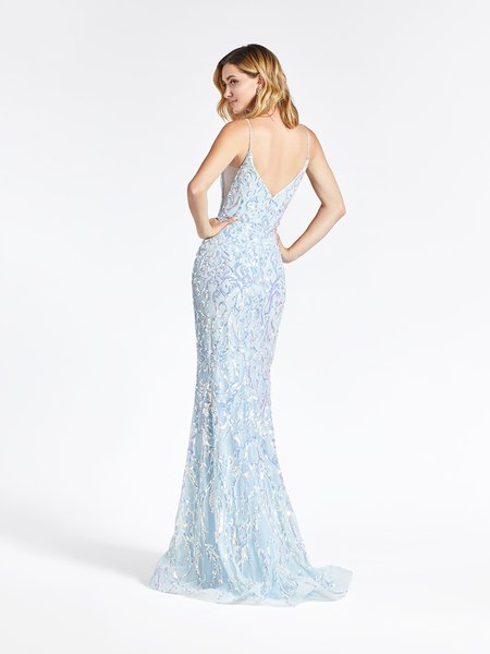 Val Stefani 3964RB V-back with straps and illusion inset at side bodice trumpet gown with horsehair trimmed kick train