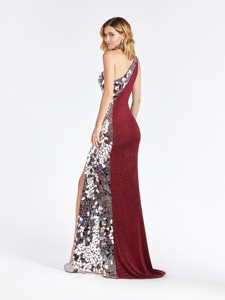 Val Stefani 3966RD trendy one shoulder sheath gown with beautiful cut glass embellishment and kick train