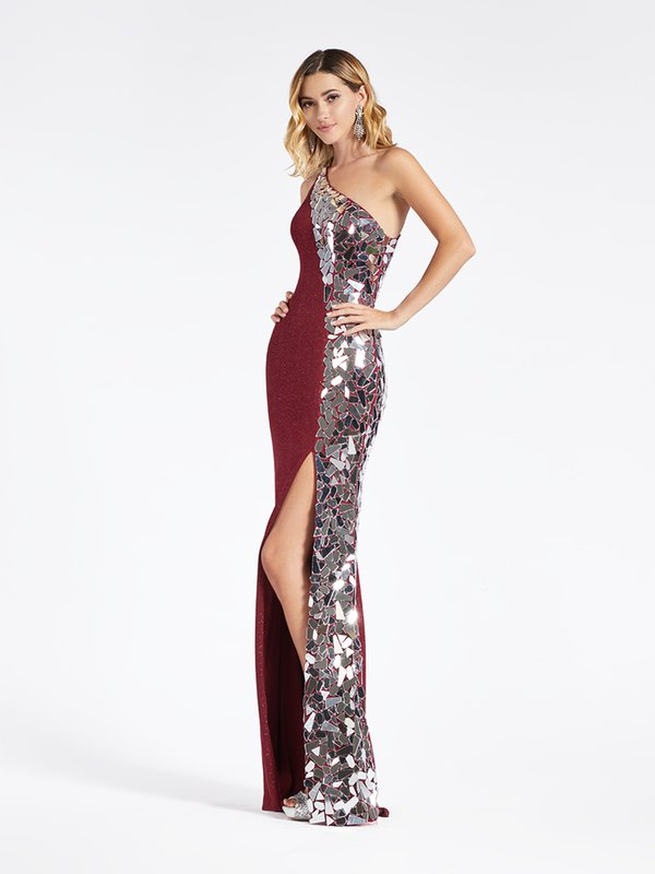 Val Stefani 3966RD burgundy sparkle jersey one shoulder sheath gown with high front sit and unique cut glass embellishment
