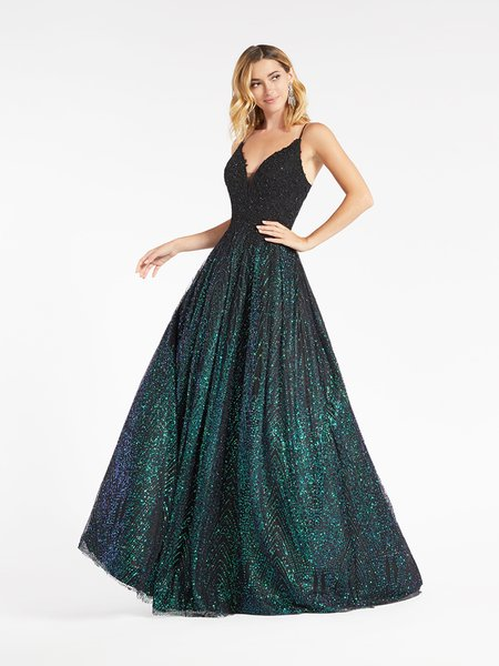 Val Stefani 3967RW black re-embroidered lace appliques and green glitter print net A-line with deep sweetheart neckline