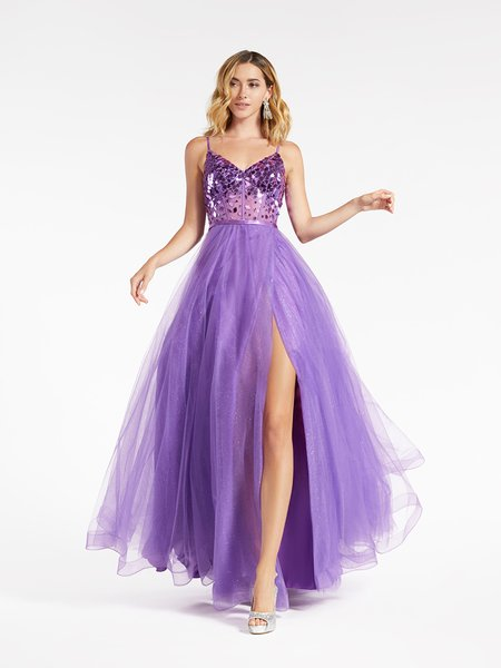 Val Stefani 3968RB purple wrap skirt A-line gown in sparkle tulle with unlined V-neck cut glass embellishment bodice