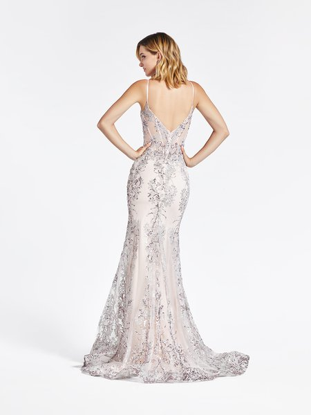 Val Stefani 3969RB deep V-back with thin straps mermaid gown with horsehair trimmed kick train in embroidered sequin net