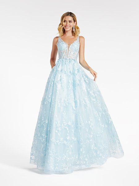 Val Stefani 3970RD light blue unlined sweetheart with illusion inset bodice in embroidery floral lace fabric and tulle A-line