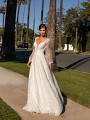 Comfortable Boho Illusion Bishop Sleeve A-line Wedding Dress with V-neckline Simply Val Stefani Alora S2161
