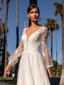 Bohemian Wedding Gown with Illusion Bishop Sleeves and Lace Fitted Bodice Simply Val Stefani Alora S2161