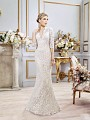 Val Stefani AMARIS style D8101 mature V-neck trumpet gown with matching sheer lace 3/4 sleeves
