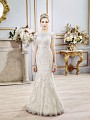 Val Stefani CASSIEL style D8102 two-piece bridal gown with lush lace crop top and trumpet skirt