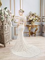 Val Stefani CASSIEL style D8102 buttoned illusion back wedding dress with classic sweep train