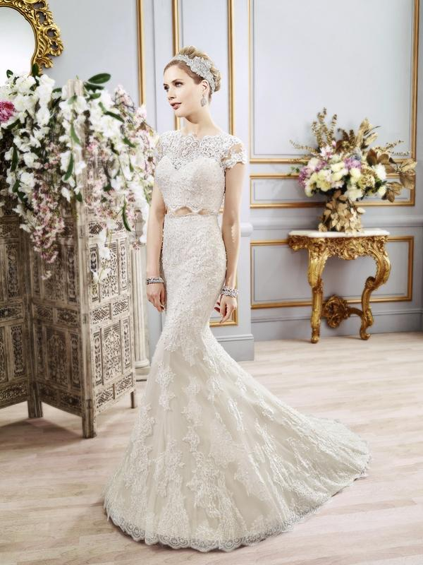 Val Stefani CASSIEL style D8102 bohemian chic sleek Chantilly lace two-piece wedding dress