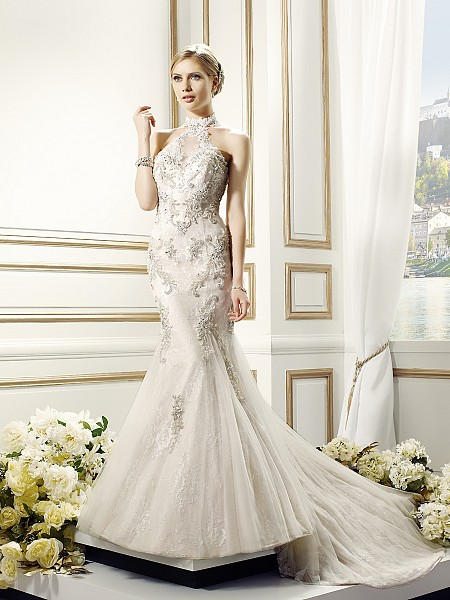 Val Stefani ANJA style D8089 vintage high halter neck Chantilly lace wedding dress with godet skirt