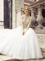 Val Stefani ZINNIA victorian bridal ball gown with beaded 3/4 sleeves