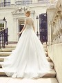 Val Stefani ZINNIA elegantly beaded illusion back bridal ball gown with net skirt