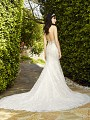 Val Stefani GARLAND style D8133 sexy low illusion lace back bridal gown with hem lace train