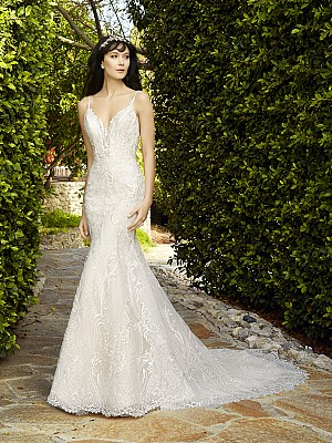 Val Stefani GARLAND style D8133 timeless head-to-toe re-embroidered lace V-neck bridal gown