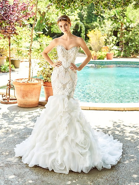 Val Stefani COPELAND style D8142 showstopping organza mermaid dress with 3D layer skirt