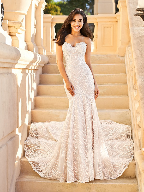 Val Stefani Justine D8165 strapless luxurious lace mermaid wedding dress