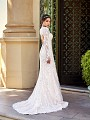 Val Stefani D8167 Gadot demure lace long sleeve wedding dress with keyhole back