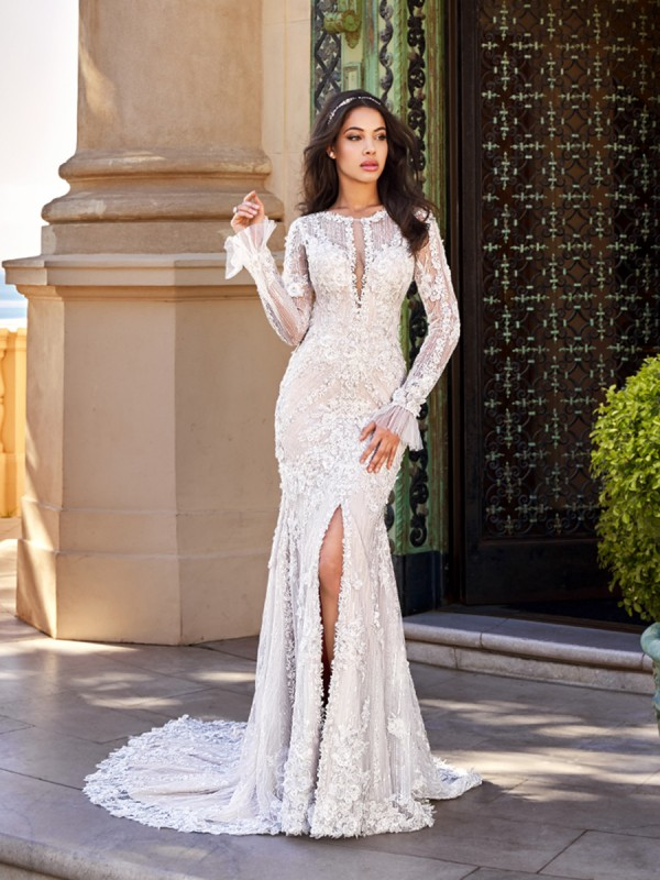 Val Stefani D8167 Gadot sexy bohemian long sleeve wedding gown with front slirt