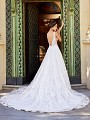 Val Stefani Luciana D8169A plunging low V-back lace wedding dress with sheer illusion side insets