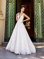 Val Stefani Luciana James D8169B sexy low V-neck ball gown lace wedding dress