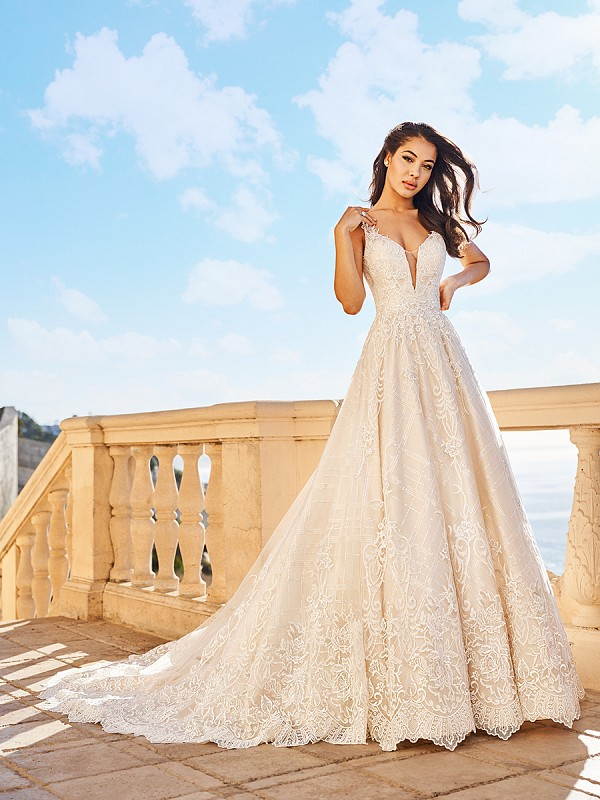 Val Stefani D8170 Belle luxurious lace ball gown with sheer illusion V-neck inset